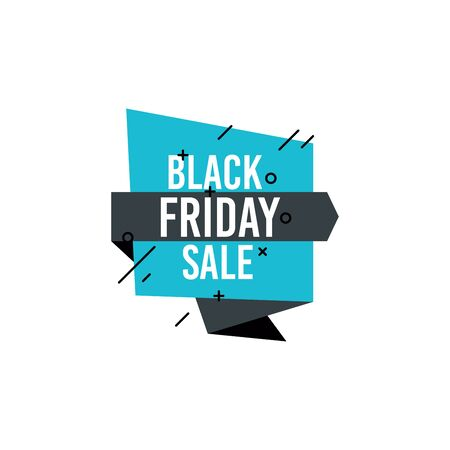 Black Friday sale and tag shape design. Special offer, best price, big sale, mega sale, discount banner. Template for your poster, sticker, badge, coupon. Illustration isolated on white background.