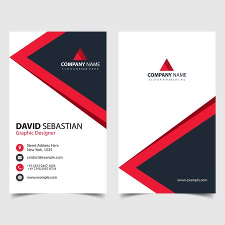 Red shape id, corporate and visit card. Elegant name card templates. Modern creative business card with abstract shapes. Vertical simple clean vector design, layout in rectangle size. eps 10. Vetores