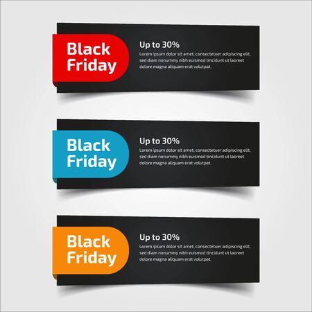 Black Friday up to 30%, 50%, 70%. Banner Design for the sale with red, blue, and yellow colors. Vector illustration. Set of elements of three abstract style on gray background.Elements of infographics Ilustração Vetorial