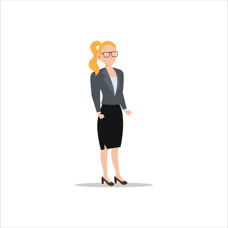 Cartoon character illustration of young businesswoman with glasses. Flat avatar icon design isolated on white background