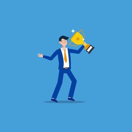 Cartoon character illustration of successful young business man with gold trophy. Flat design isolated on blue. Can be used for websites, web design, mobile app. Иллюстрация