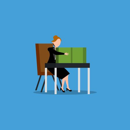 Cartoon character illustration of successful young business woman sitting behind the table full of cash. Flat design isolated on blue background. Can be used for websites, web design, mobile app.