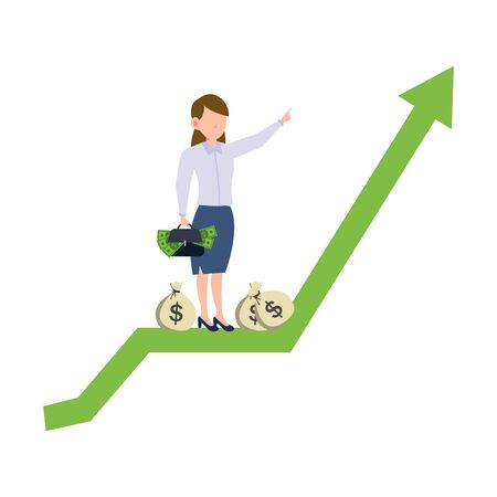 Cartoon character illustration of successful young business woman riding on up green arrow bringing briefcase full of money. Flat design isolated on white background. Can be used for websites, web design, mobile app.