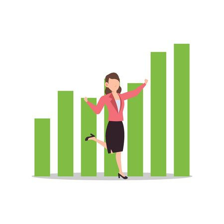 Cartoon character illustration of successful young business woman with success graph in green color. Flat design isolated on white background. Can be used for websites, web design, mobile app.