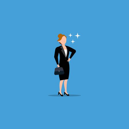 Cartoon character illustration of successful young business woman standing bring briefcase. Flat design isolated on blue background. Can be used for websites, web design, mobile app.