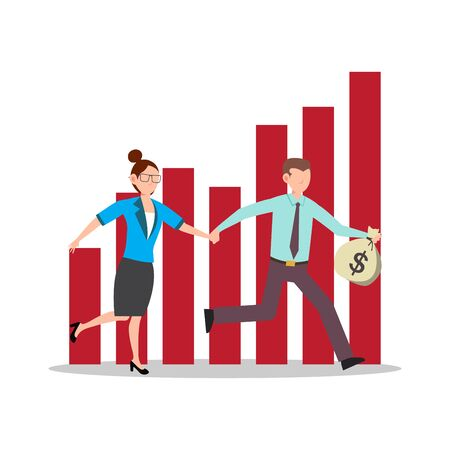 Cartoon character illustration of successful young business couple running together bring a bag full of money with red success graph. Flat design isolated on white background. Can be used for websites, web design, mobile app.