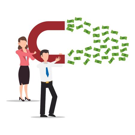 Cartoon character illustration of successful young business couple with a big magnet and attract money. Flat design isolated on white background. Can be used for websites, web design, mobile app.