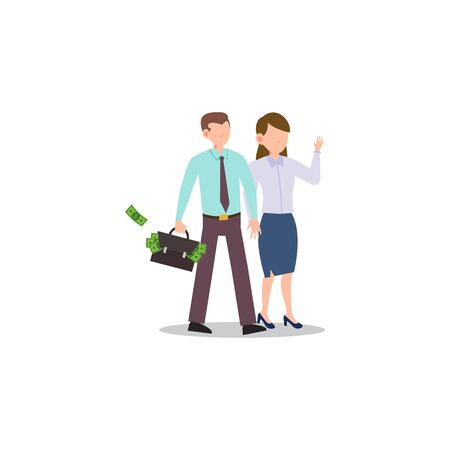 Cartoon character illustration of successful young business couple walking together and bringing briefcase with full of cash. Flat design isolated on white background. Can be used for websites, web design, mobile app. Иллюстрация