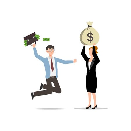 Cartoon character illustration of successful young business couple feeling happy. They got a lot of money. Flat design isolated on white background. Can be used for websites, web design, mobile app.