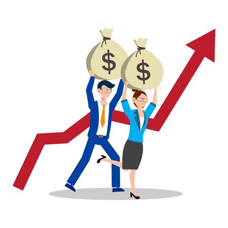 Cartoon character illustration of successful young business couple running together with up red arrow. They holding bag with full of money. Flat design isolated on white background. Can be used for websites, web design, mobile app.