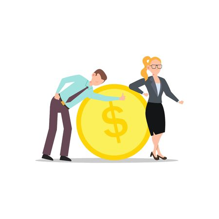 Cartoon character illustration of successful young business couple poses with a big coin. Flat design isolated on white background. Can be used for websites, web design, mobile app.