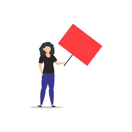 Cartoon character illustration of young woman holding blank placard flat. Standing female protesters or activists. Political meeting and protest vector concept isolated on white background.