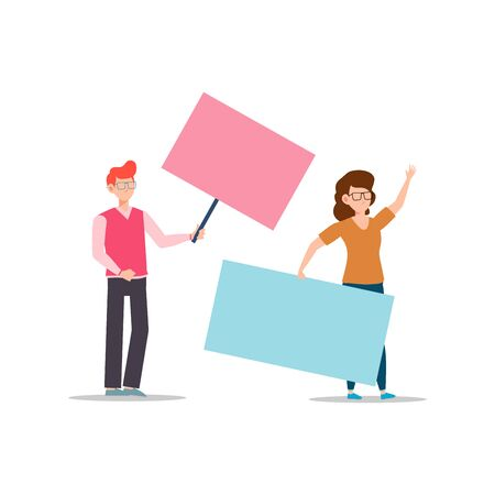 Cartoon character illustration of young couple holding blank placard flat. Standing male and female protesters or activists. Political meeting and protest vector concept isolated on white background.
