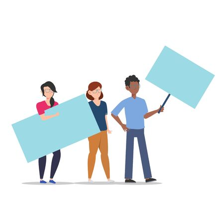Cartoon character illustration of young group holding blank placard flat. Standing male and female protesters or activists. Political meeting and protest vector concept isolated on white background.