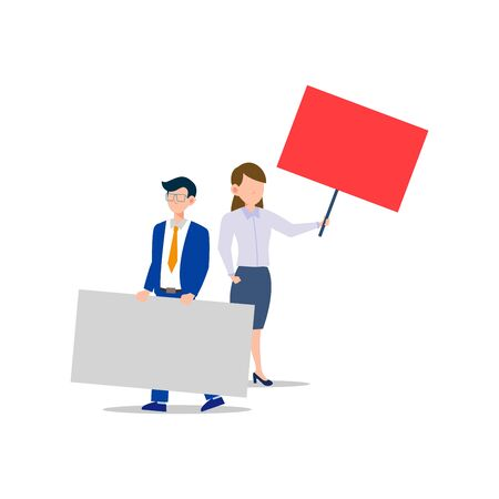 Cartoon character illustration of young business man and woman holding blank placard flat. Standing male and female protesters or activists. Political meeting and protest vector concept isolated white