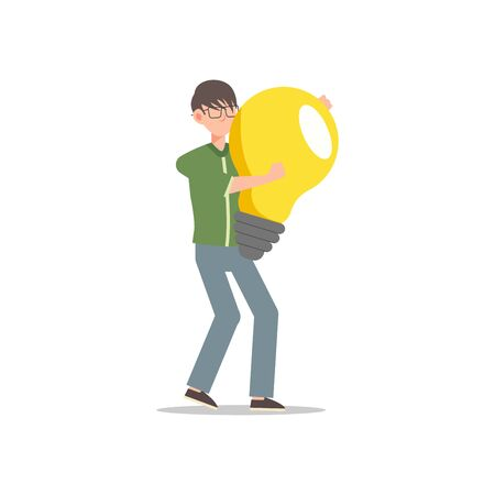 Cartoon character illustration of young man holding light bulb. Concept of search new ideas solutions, imagination, creative innovation idea, brainstorming. Flat design isolated on white background.