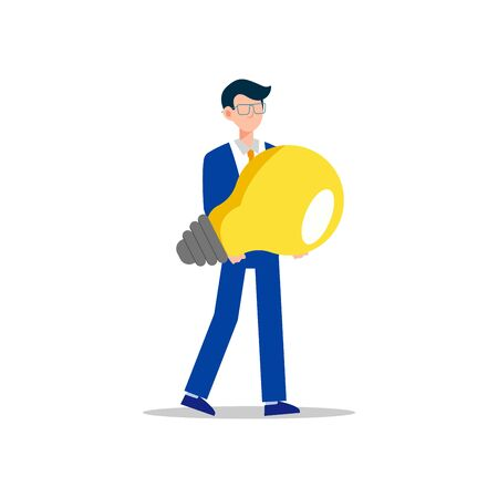Cartoon character illustration of young business man holding light bulb. Concept of search new ideas solutions, imagination, creative innovation idea, brainstorming. Flat design isolated on white.