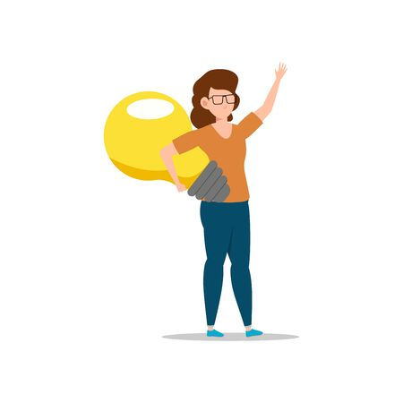 Cartoon character illustration of young woman holding light bulb. Concept of search new ideas solutions, imagination, creative innovation idea, brainstorming. Flat design isolated on white background.