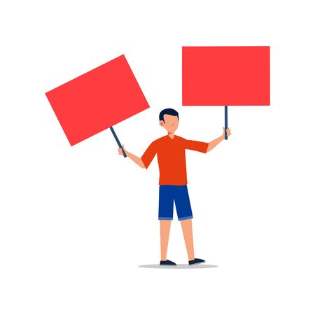 Cartoon character illustration of young man holding blank placard flat. Standing male protesters or activists. Political meeting and protest vector concept isolated on white background.