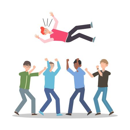 Cartoon character illustration of celebration pose and gesture. Happy group of young man are throwing person in the air. Flat design isolated on white for websites, mobile app.