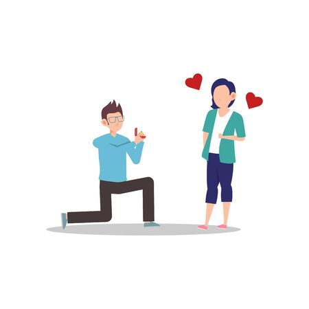 Cartoon character illustration of happy couple and lover. Marriage proposal from boyfriend to girlfriend. Man kneeling to give woman a diamond ring. Can be used for websites, web design, mobile app.