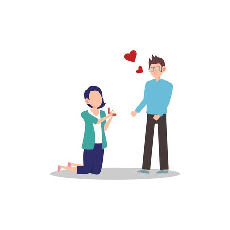 Cartoon character illustration of happy couple and lover. Marriage proposal from girlfriend to boyfriend. Woman kneeling to give man a diamond ring. Can be used for websites, web design, mobile app.