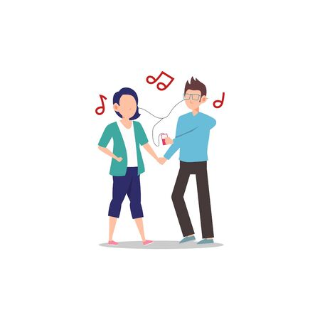 Cartoon character illustration of happy couple and lover. Boyfriend and girlfriend listening favorite song together with romantic atmosphere. Can be used for websites, web design, mobile app.
