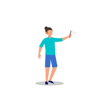 Cartoon character illustration of human action poses postures. Flat design of young man holding white flag concept isolated on white background. Can be used for websites, web design, mobile app. Ilustrace
