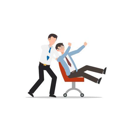 Cartoon character illustration of employee worker staff office playing together with pushing chair. Flat design isolated on white background. Can be used for websites, web design, mobile app.