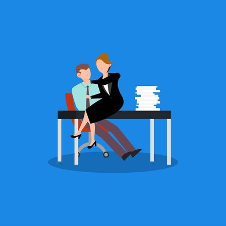 Cartoon character illustration of employee worker staff office flirting with a woman. Flat design isolated on white background. Can be used for websites, web design, mobile app.
