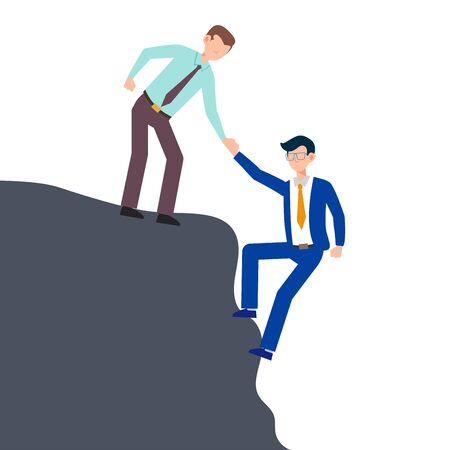 Cartoon character illustration of business friend helping each other. Business man giving hand to climb from problem. Flat design concept isolated on white background.