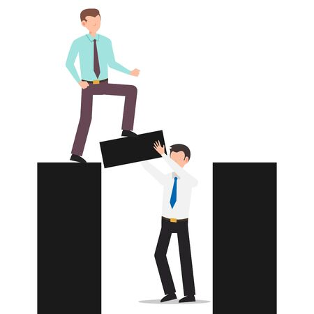 Cartoon character illustration of business friend helping each other. Business man holding the bridge while another business man crossing. Flat design concept isolated on white background. Illustration