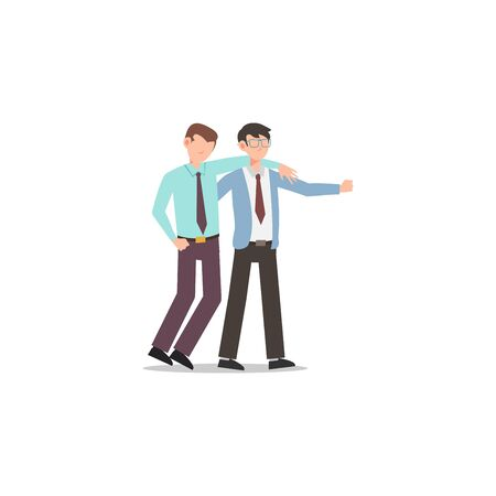 Cartoon character illustration of business friend helping each other. Business man helping to carry him friend who failed. Flat design concept isolated on white background. Illustration