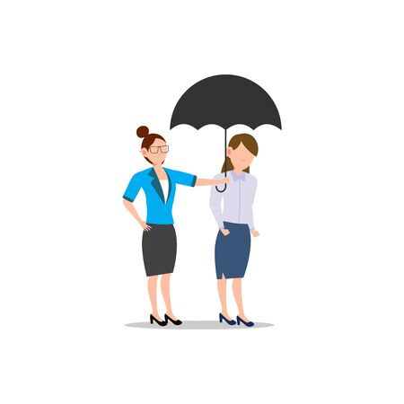 Cartoon character illustration of business friend helping each other. Business woman giving umbrella. Flat design concept isolated on white background. Illustration