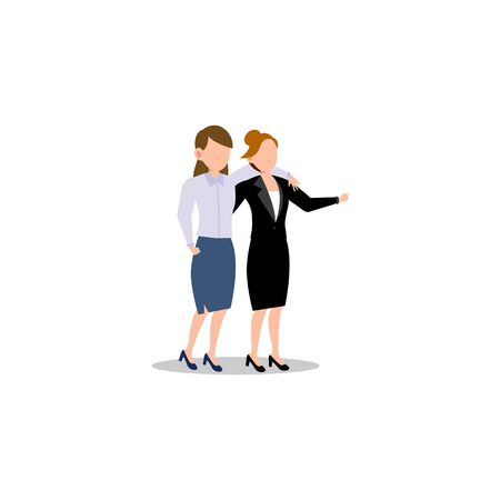 Cartoon character illustration of business friend helping each other. Business woman helping to carry her friend who failed. Flat design concept isolated on white background.