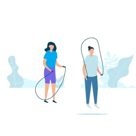 Character design of young fitness couple doing exercising with jumping ropes in nature with healthy lifestyle concept. Vector illustration in flat style. Çizim
