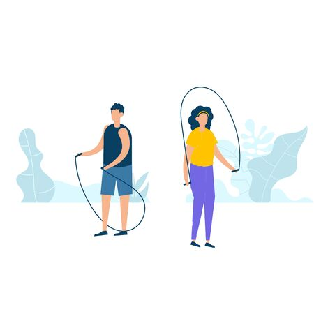 Character design of young fitness couple doing exercising with jumping ropes in nature with healthy lifestyle concept. Vector illustration in flat style. Vectores