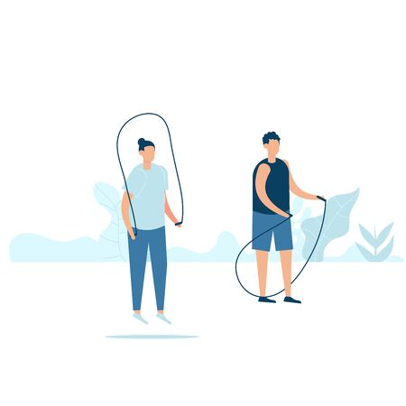 Character design of two young fitness man doing exercising with jumping ropes in nature with healthy lifestyle concept. Vector illustration in flat style.