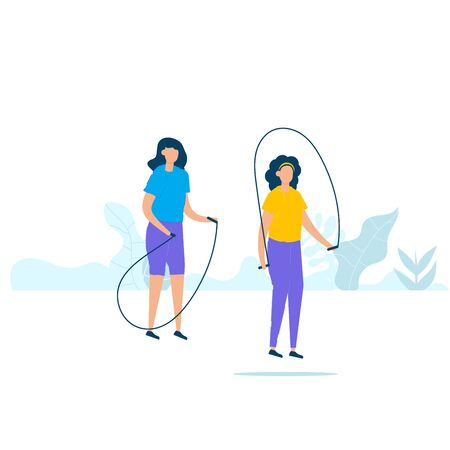 Character design of two young fitness woman doing exercising with jumping ropes in nature with healthy lifestyle concept. Vector illustration in flat style.