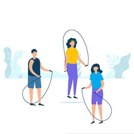 Character design of group young people jumping with rope together in nature with healthy lifestyle concept. Vector illustration in flat style. Çizim