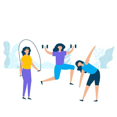 Group of young women practicing exercise with skipping, holding dumbbell, and stretching in nature. Vector illustration character with healthy lifestyle concept in flat style.