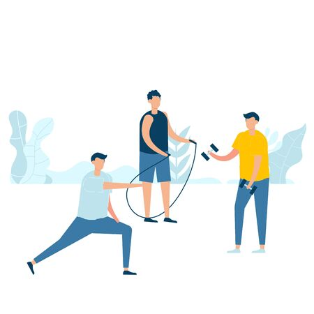 Group of young men practicing exercise with skipping, holding dumbbell, and stretching in nature. Vector illustration character with healthy lifestyle concept in flat style.