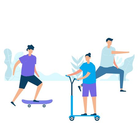 Group of young men practicing exercise with skateboarding, riding kick scooters, and stretching in nature. Vector illustration character with healthy lifestyle concept in flat style. Çizim
