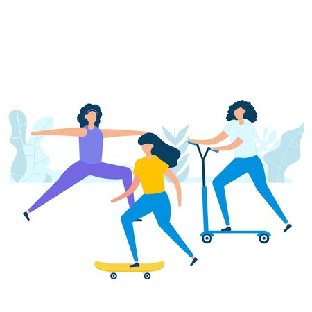 Group of young women practicing exercise with skateboarding, riding kick scooters, and stretching in nature. Vector illustration character with healthy lifestyle concept in flat style.