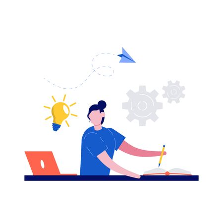 E-learning concept illustration. Female student learning online at home. Student looking at laptop and writing on a book. Web courses, tutorials and distance education. Modern flat style.