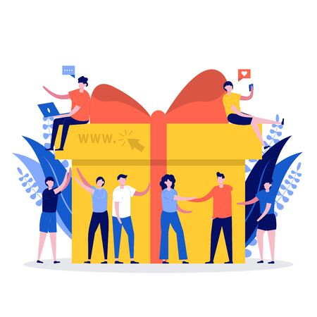 Online reward concept. Young group of happy people getting bonuses and receiving gift boxes. Vector illustration for loyalty program, promotion, marketing. Modern flat style design for landing page.