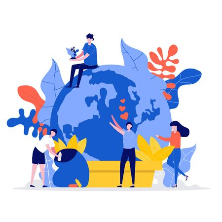 Tiny world in pot with young man and woman. Group of people care and protect the earth. Vector banner on the ecology of volunteering and saving the planet. Modern flat style illustration.