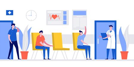 Patients sitting in chairs waiting appointment time at hospital doctor consultation. Doctor in uniform is welcoming visitors for medical diagnosis. Modern flat style illustration.