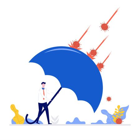 Covid-19 coronavirus outbreak financial crisis-business survive concept. Businessman leader stand safe by cover himself with big umbrella from covid-19 virus pathogen. Flat style illustration. Ilustração Vetorial
