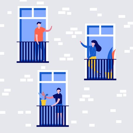 People living behavior, neighborhood concept. People stand on balconies and look out of windows. Building exterior or facade with man, woman and children inside apartments. Flat style illustration.